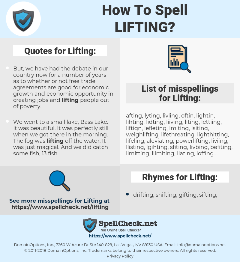 Lifting, spellcheck Lifting, how to spell Lifting, how do you spell Lifting, correct spelling for Lifting
