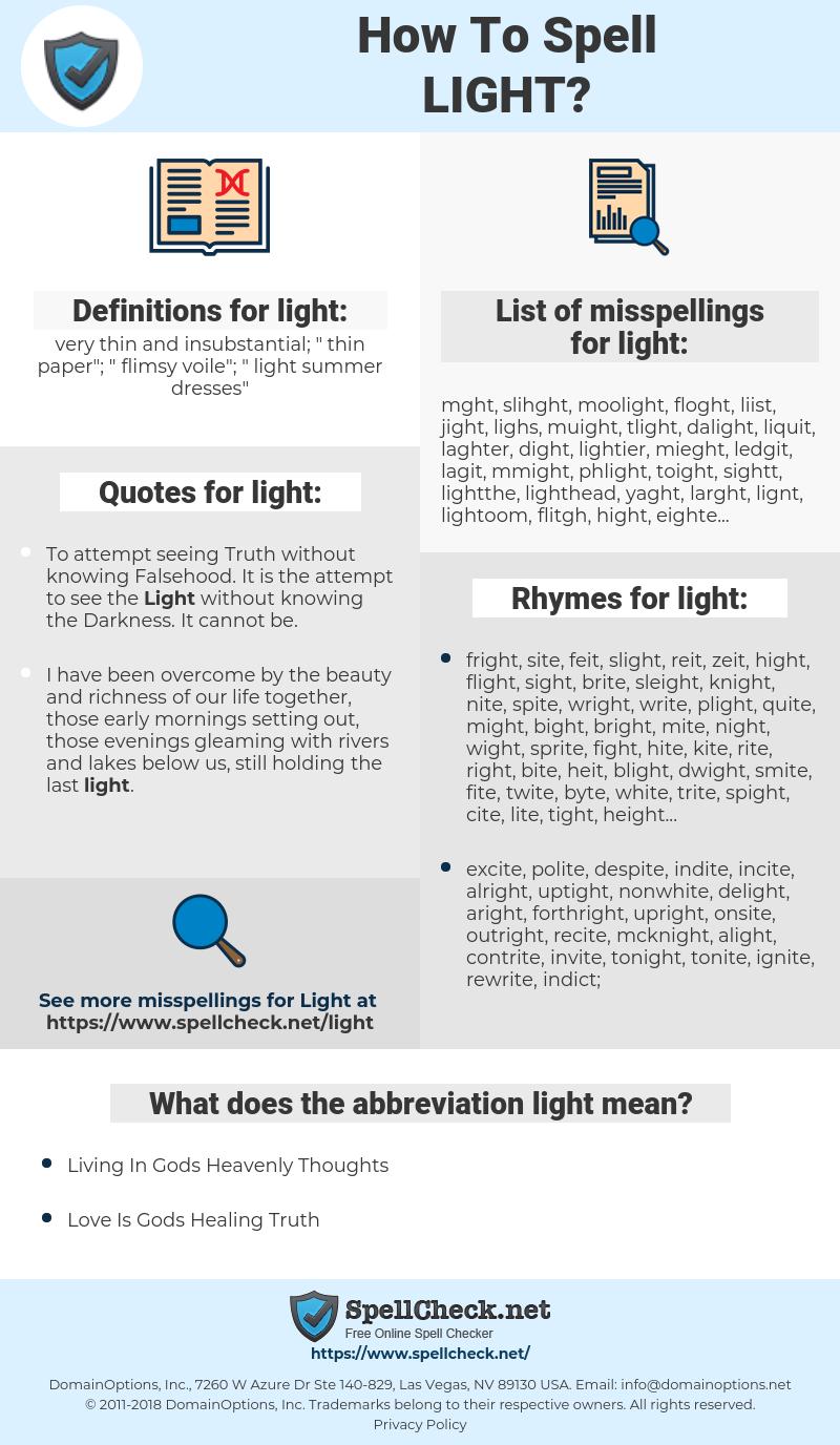 light, spellcheck light, how to spell light, how do you spell light, correct spelling for light