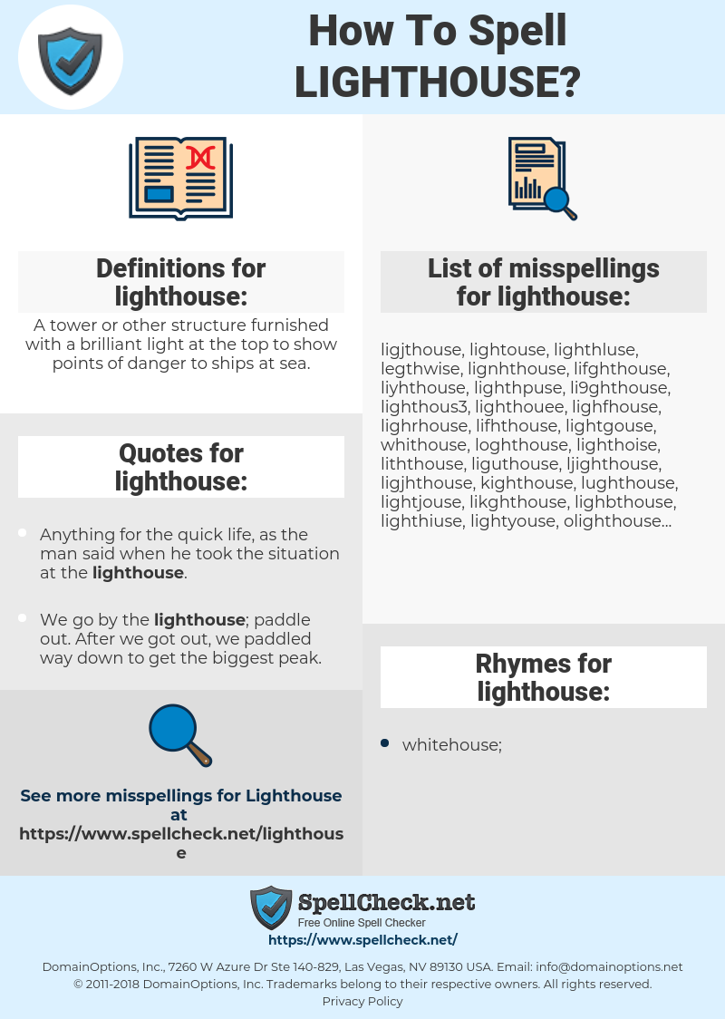 lighthouse, spellcheck lighthouse, how to spell lighthouse, how do you spell lighthouse, correct spelling for lighthouse