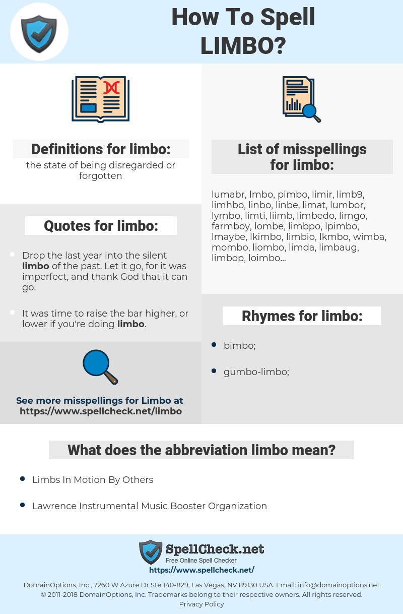 limbo, spellcheck limbo, how to spell limbo, how do you spell limbo, correct spelling for limbo