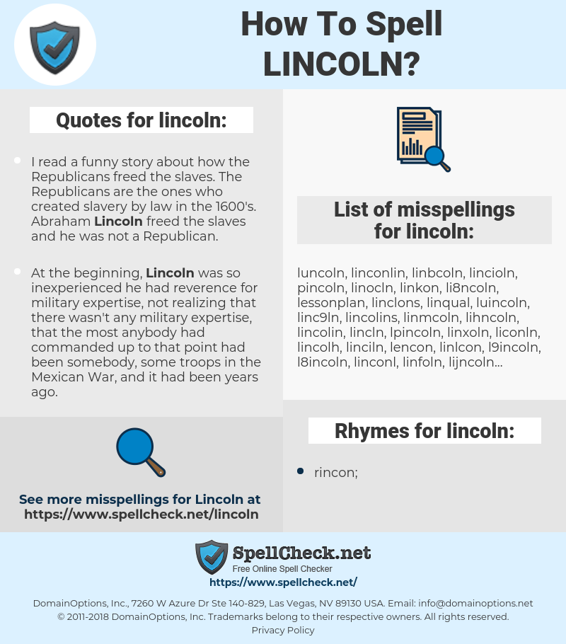 lincoln, spellcheck lincoln, how to spell lincoln, how do you spell lincoln, correct spelling for lincoln