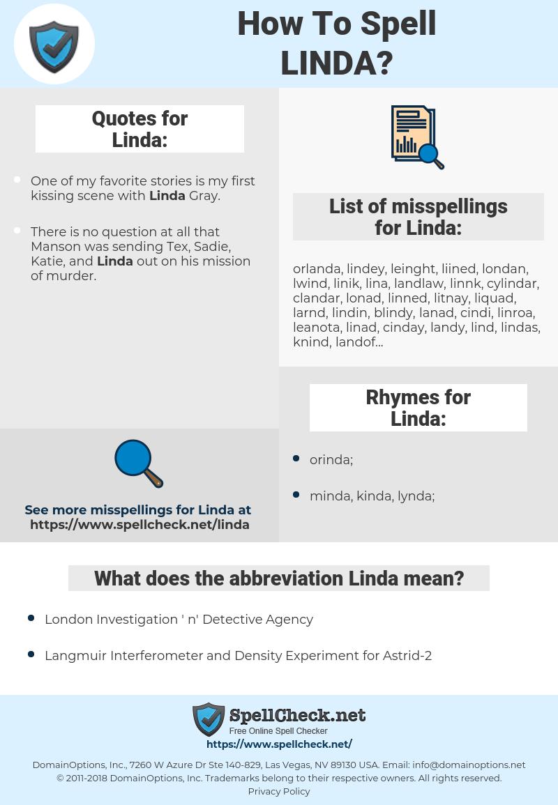 Linda, spellcheck Linda, how to spell Linda, how do you spell Linda, correct spelling for Linda