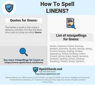 linens, spellcheck linens, how to spell linens, how do you spell linens, correct spelling for linens