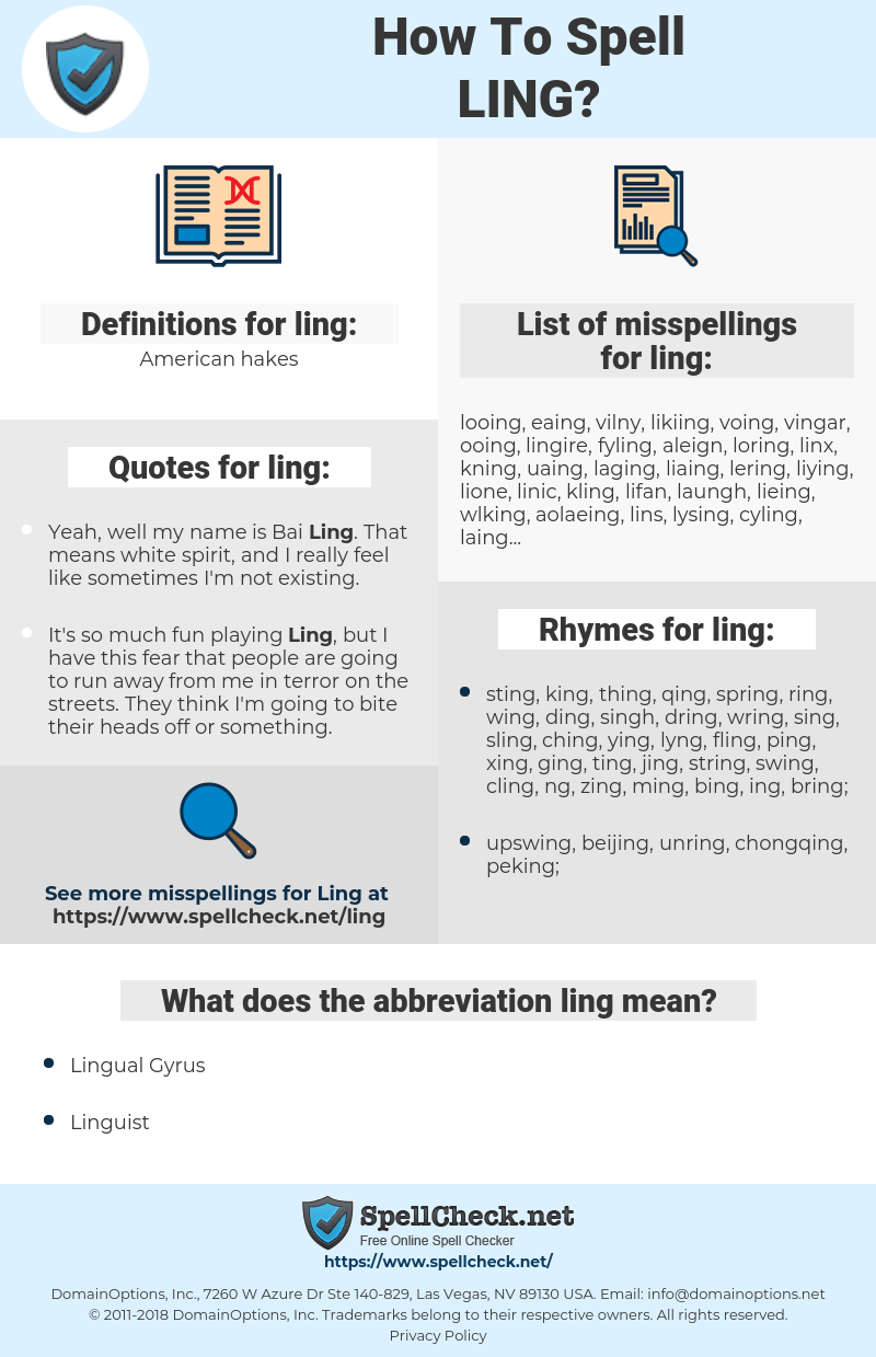 ling, spellcheck ling, how to spell ling, how do you spell ling, correct spelling for ling