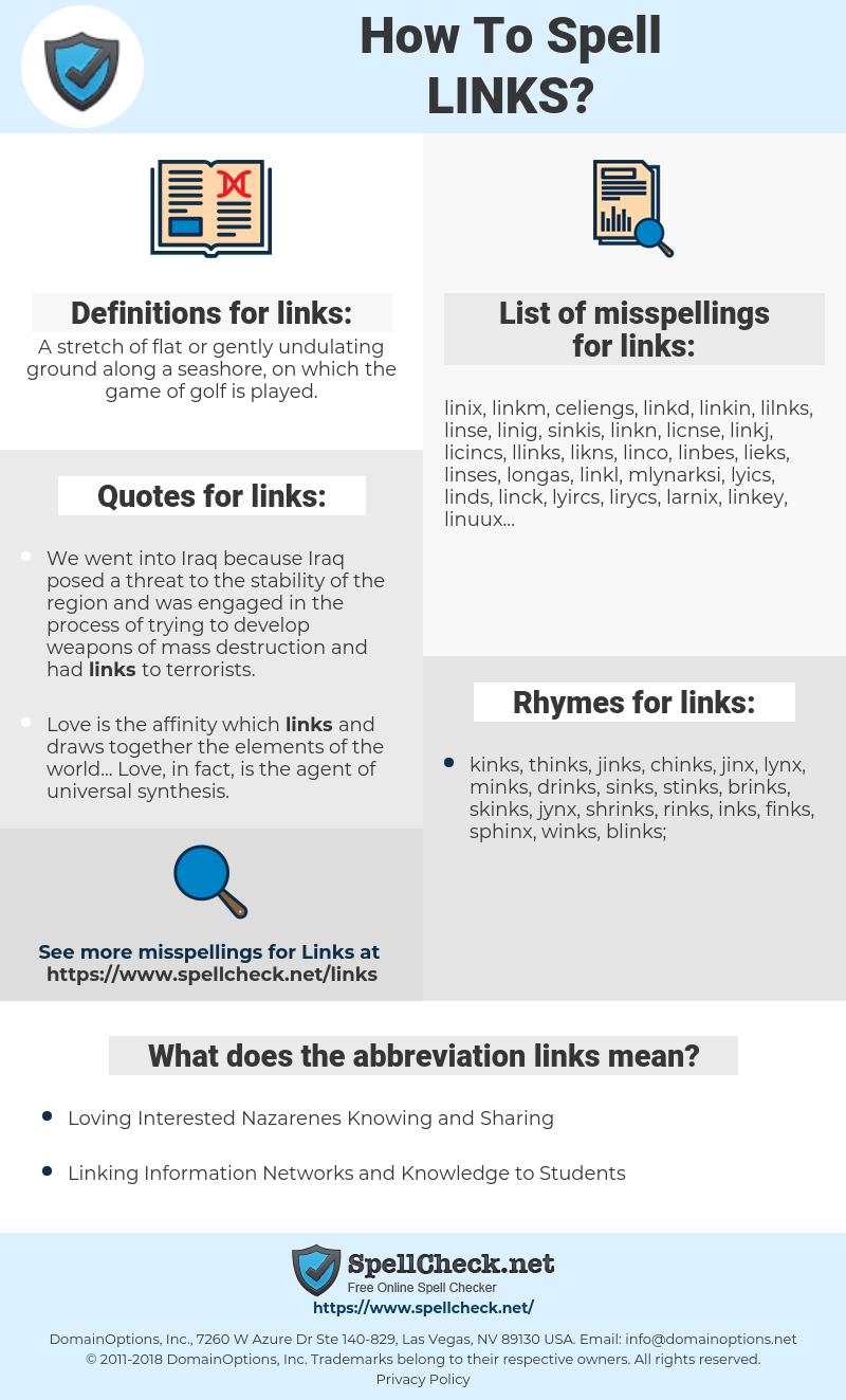 links, spellcheck links, how to spell links, how do you spell links, correct spelling for links