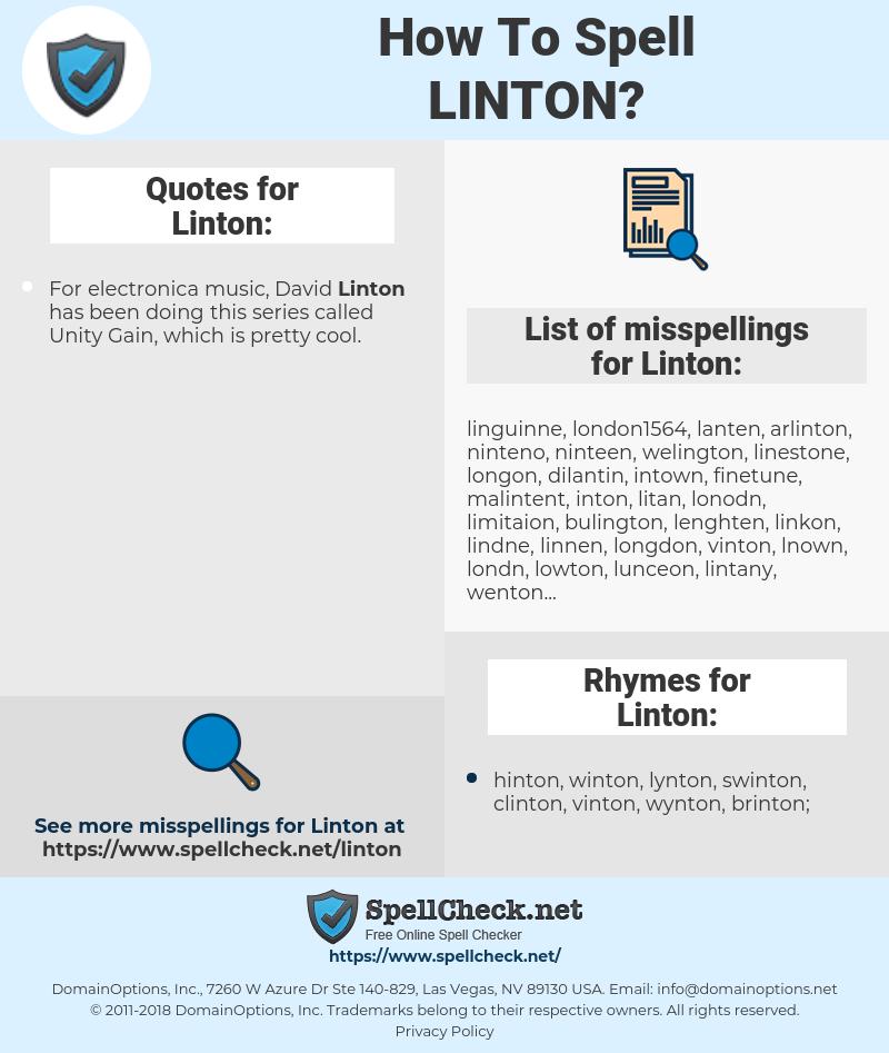 Linton, spellcheck Linton, how to spell Linton, how do you spell Linton, correct spelling for Linton