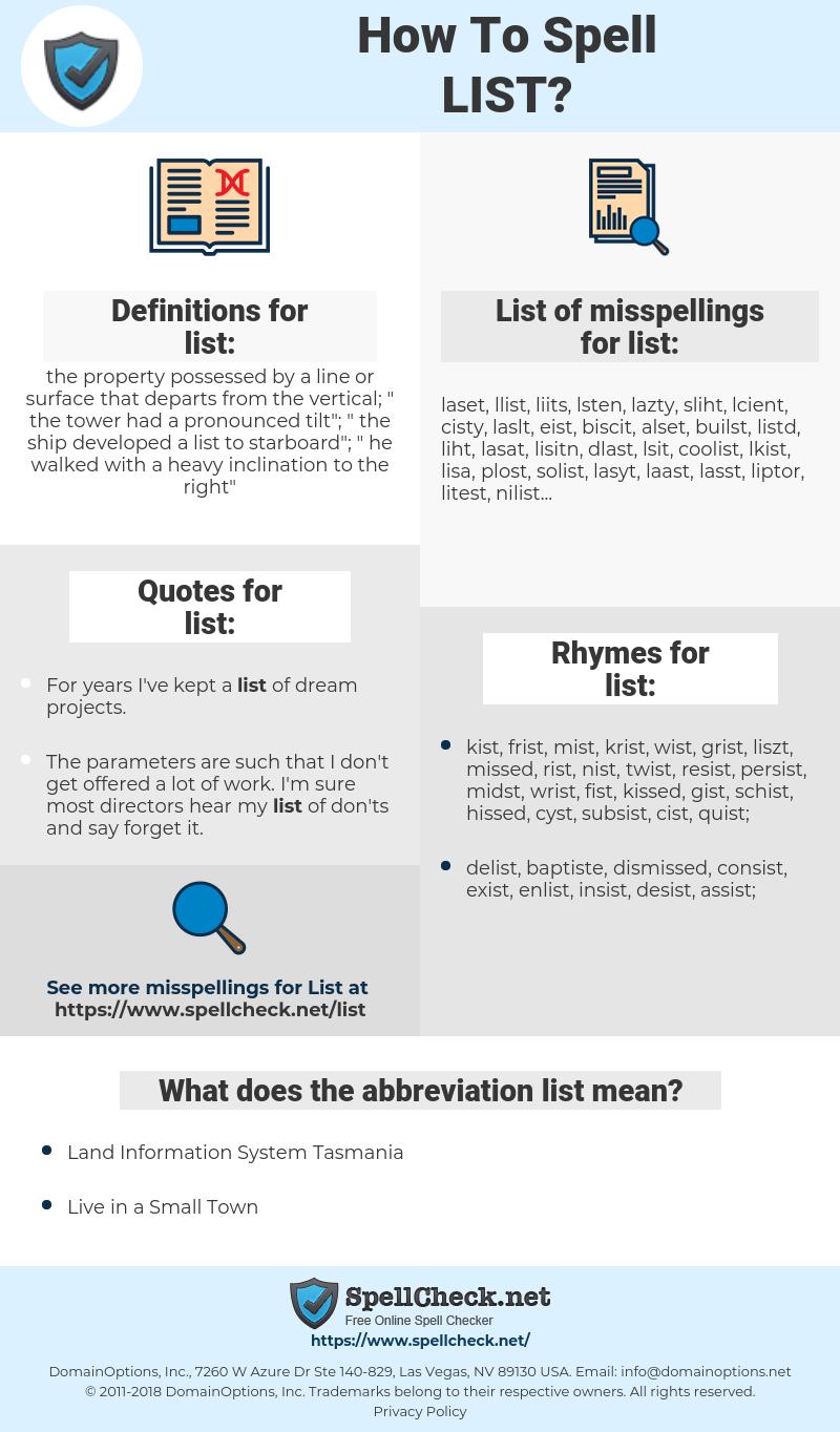 list, spellcheck list, how to spell list, how do you spell list, correct spelling for list