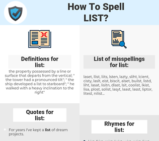 list, spellcheck list, how to spell list, how do you spell list, correct spelling for list