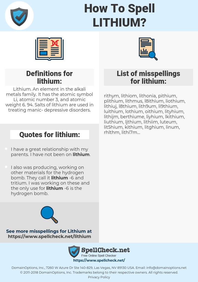 lithium, spellcheck lithium, how to spell lithium, how do you spell lithium, correct spelling for lithium