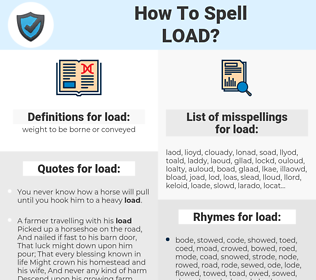 load, spellcheck load, how to spell load, how do you spell load, correct spelling for load