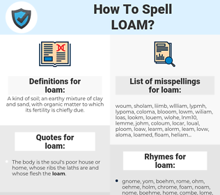 loam, spellcheck loam, how to spell loam, how do you spell loam, correct spelling for loam