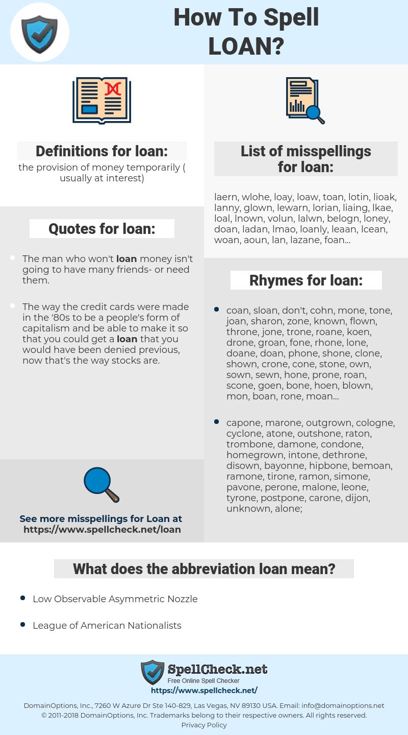 loan, spellcheck loan, how to spell loan, how do you spell loan, correct spelling for loan