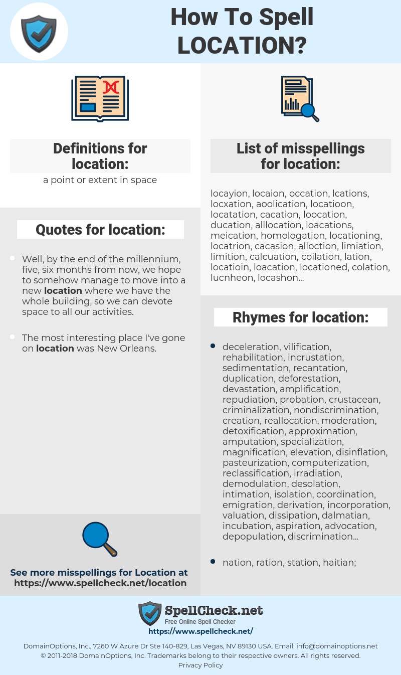 location, spellcheck location, how to spell location, how do you spell location, correct spelling for location