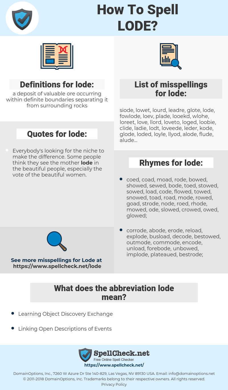 lode, spellcheck lode, how to spell lode, how do you spell lode, correct spelling for lode