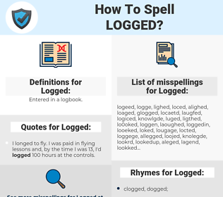 Logged, spellcheck Logged, how to spell Logged, how do you spell Logged, correct spelling for Logged