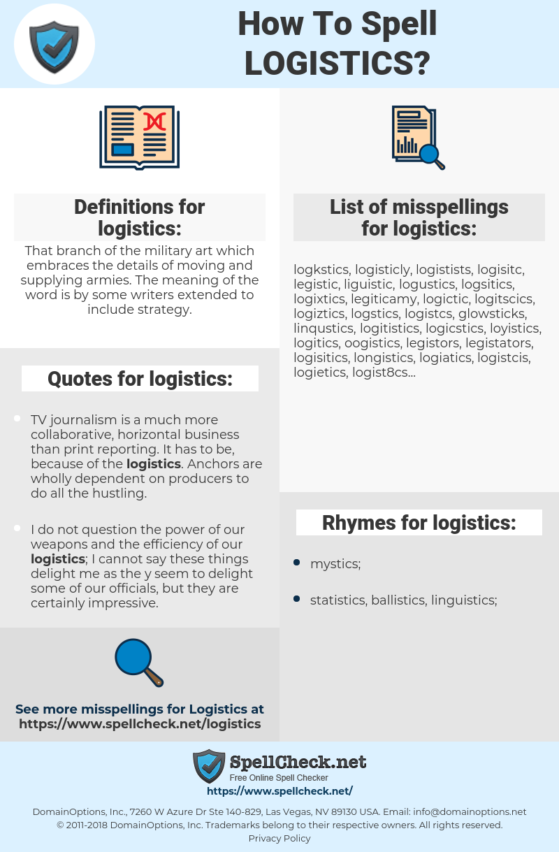 How To Spell Logistics (And How To Misspell It Too) | Spellcheck net