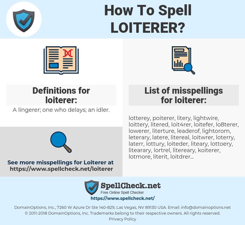 loiterer, spellcheck loiterer, how to spell loiterer, how do you spell loiterer, correct spelling for loiterer