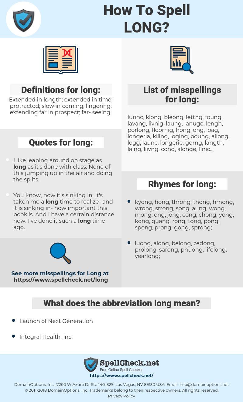long, spellcheck long, how to spell long, how do you spell long, correct spelling for long