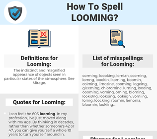 Looming, spellcheck Looming, how to spell Looming, how do you spell Looming, correct spelling for Looming