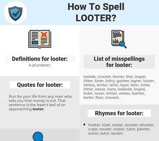 looter, spellcheck looter, how to spell looter, how do you spell looter, correct spelling for looter