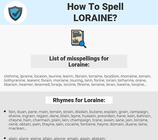 Loraine, spellcheck Loraine, how to spell Loraine, how do you spell Loraine, correct spelling for Loraine