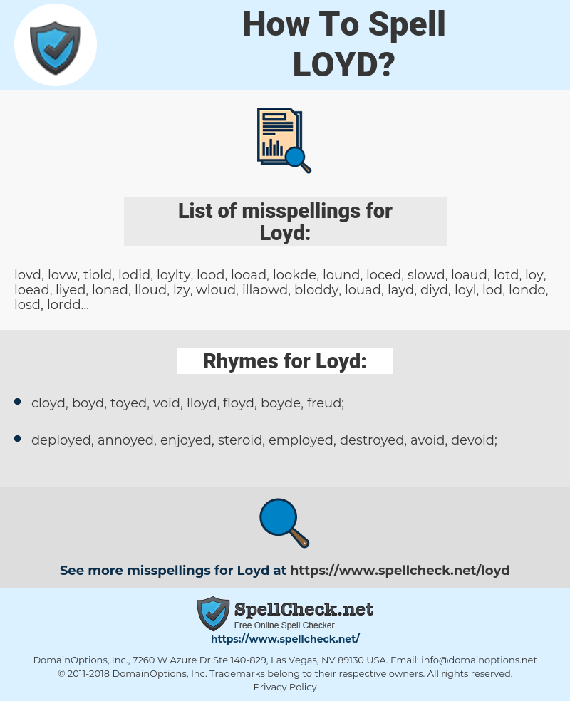 Loyd, spellcheck Loyd, how to spell Loyd, how do you spell Loyd, correct spelling for Loyd