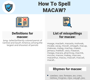macaw, spellcheck macaw, how to spell macaw, how do you spell macaw, correct spelling for macaw