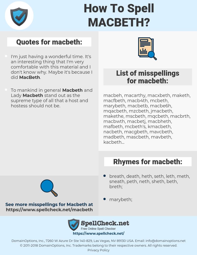macbeth, spellcheck macbeth, how to spell macbeth, how do you spell macbeth, correct spelling for macbeth