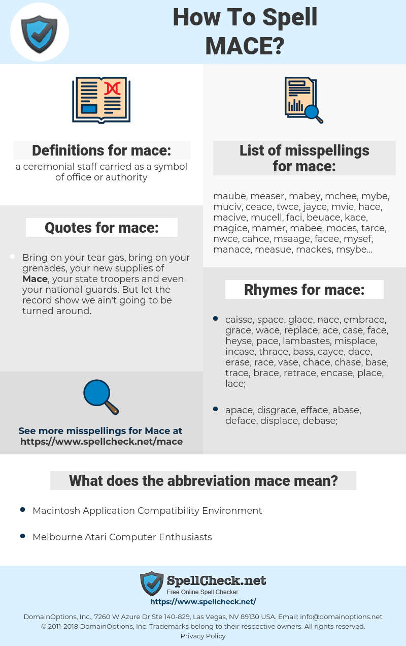 mace, spellcheck mace, how to spell mace, how do you spell mace, correct spelling for mace