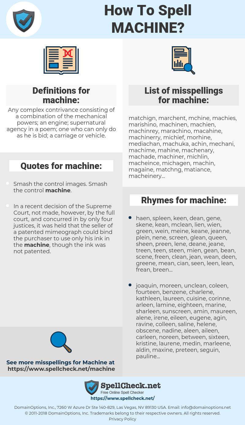 machine, spellcheck machine, how to spell machine, how do you spell machine, correct spelling for machine