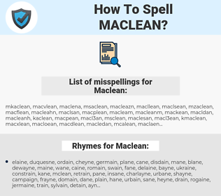 Maclean, spellcheck Maclean, how to spell Maclean, how do you spell Maclean, correct spelling for Maclean