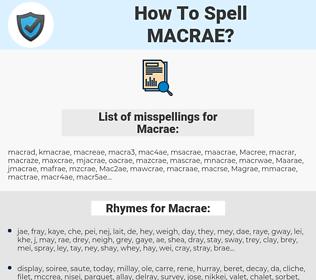 Macrae, spellcheck Macrae, how to spell Macrae, how do you spell Macrae, correct spelling for Macrae