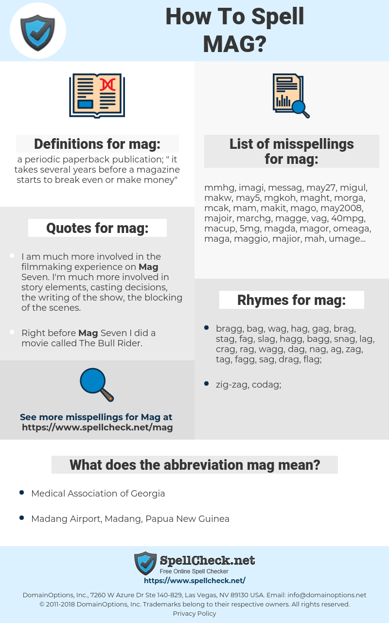mag, spellcheck mag, how to spell mag, how do you spell mag, correct spelling for mag