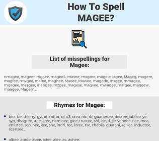 Magee, spellcheck Magee, how to spell Magee, how do you spell Magee, correct spelling for Magee