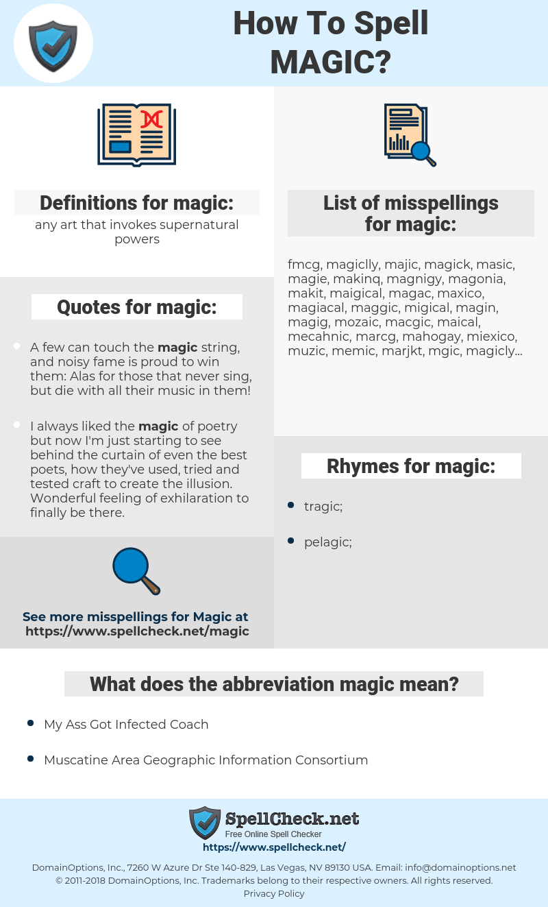 magic, spellcheck magic, how to spell magic, how do you spell magic, correct spelling for magic