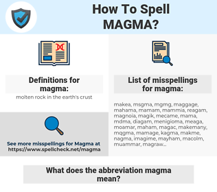 magma, spellcheck magma, how to spell magma, how do you spell magma, correct spelling for magma