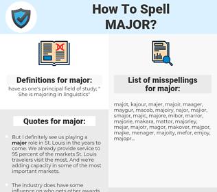 major, spellcheck major, how to spell major, how do you spell major, correct spelling for major