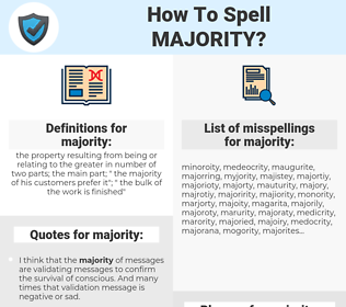 majority, spellcheck majority, how to spell majority, how do you spell majority, correct spelling for majority
