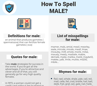male, spellcheck male, how to spell male, how do you spell male, correct spelling for male