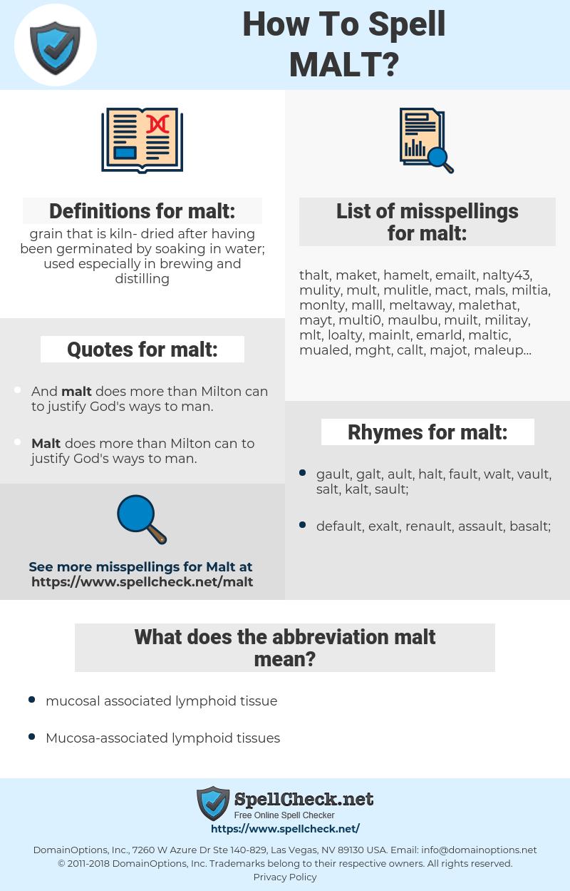 malt, spellcheck malt, how to spell malt, how do you spell malt, correct spelling for malt
