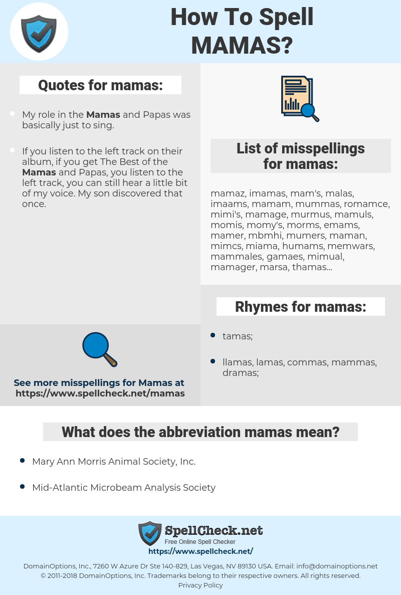 mamas, spellcheck mamas, how to spell mamas, how do you spell mamas, correct spelling for mamas