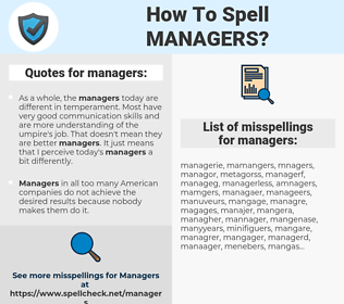 managers, spellcheck managers, how to spell managers, how do you spell managers, correct spelling for managers