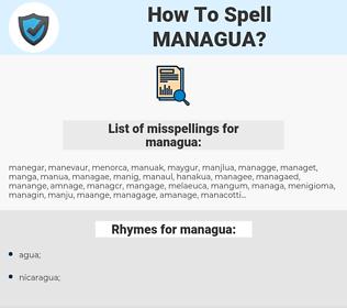 managua, spellcheck managua, how to spell managua, how do you spell managua, correct spelling for managua