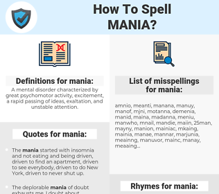 mania, spellcheck mania, how to spell mania, how do you spell mania, correct spelling for mania