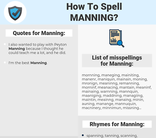 Manning, spellcheck Manning, how to spell Manning, how do you spell Manning, correct spelling for Manning