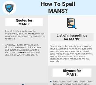 MANS, spellcheck MANS, how to spell MANS, how do you spell MANS, correct spelling for MANS