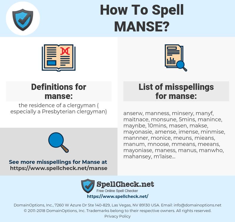 manse, spellcheck manse, how to spell manse, how do you spell manse, correct spelling for manse