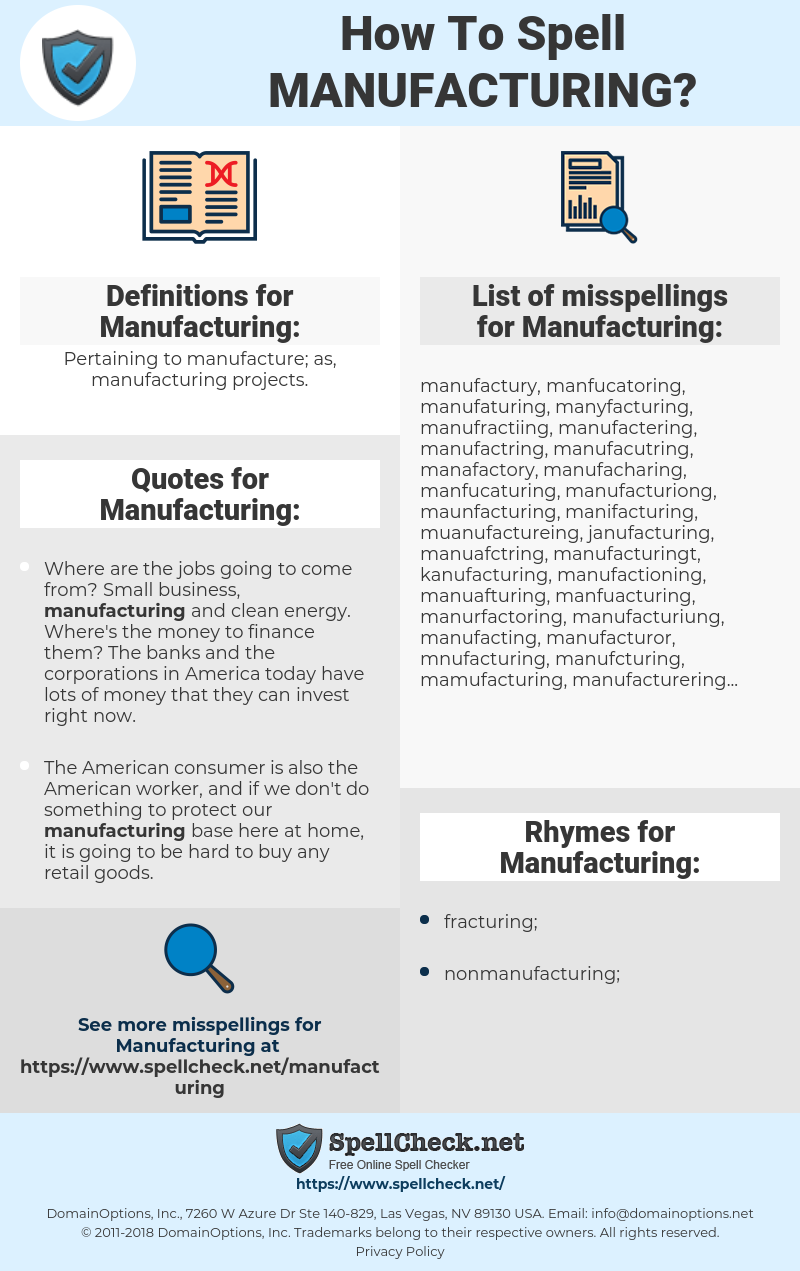 How To Spell Manufacturing (And How To Misspell It Too
