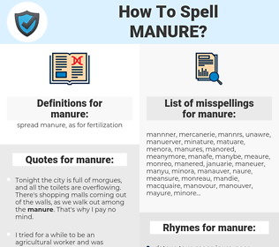 manure, spellcheck manure, how to spell manure, how do you spell manure, correct spelling for manure