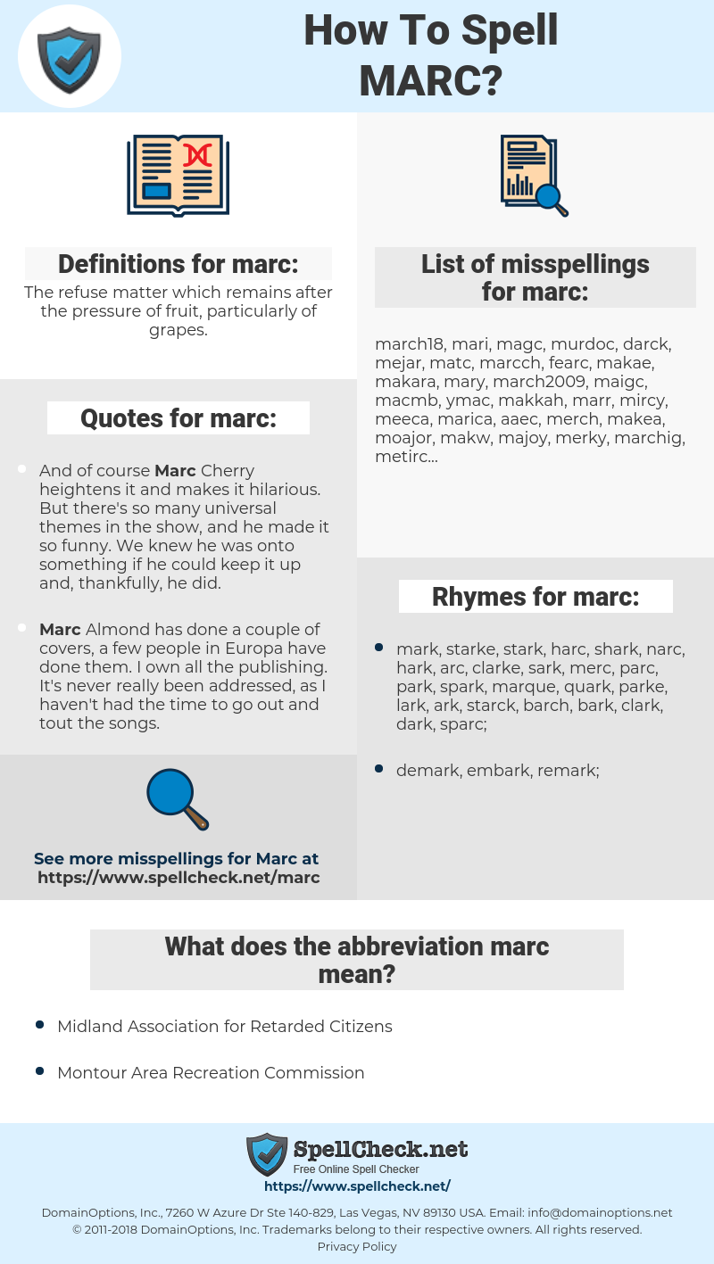 marc, spellcheck marc, how to spell marc, how do you spell marc, correct spelling for marc